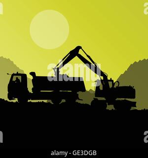 Excavator digger in action vector background concept for poster - Stock Photo
