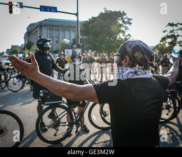 Cleveland, Ohio, USA. 19th July, 2016. Protesters rally in the streets during the Republican National Convention. - Stock Photo