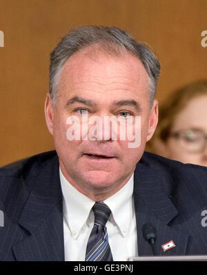 FILE - United States Senator Tim Kaine (Democrat of Virginia) questions U.S. Secretary of Defense Chuck Hagel and - Stock Photo