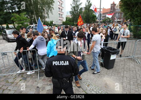 Gdansk, Poland 23rd, July 2016 Police officers  searching the participants of open-air meeting in Gdansk at the - Stock Photo