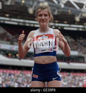Queen Elizabeth Park, London, UK. 23rd July, 2016. London Anniversary Athletics. Sophie Hahn (GBR) poses after winning - Stock Photo
