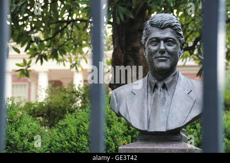 A bust of Bill Clinton is in the garden of the Governor's Mansion at the end of Center Street in Little Rock, Arkansas, - Stock Photo