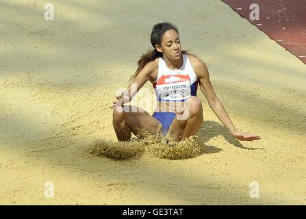 London, UK. 23rd July, 2016. Katarina Johnson-Thompson (GBR) in the womens long jump. Anniversary Games. London - Stock Photo