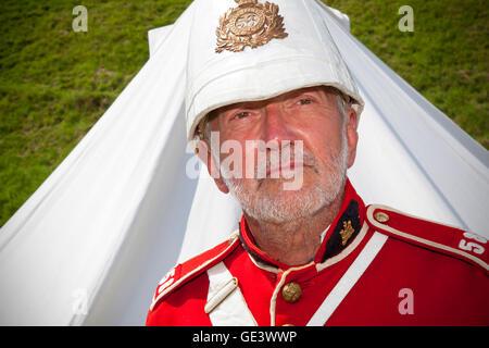 Tutbury Castle, Staffordshire, UK.  23-07-2016.  Phil Joynson of the Anglo-Boer War Group brings Tutbury Castle - Stock Photo