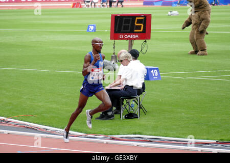 London.UK. 23rd July  2016.Mo Farah destroyed the opposition to win in 12 minutes 59.29 seconds, the fastest 5000 - Stock Photo
