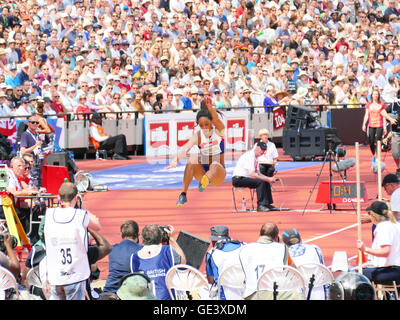 London.UK. 23rd July  2016. Katarina Johnson-Thompson wins the women's long jump at the London Anniversary Games - Stock Photo