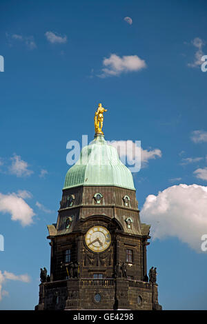 geography / travel, Germany, Saxony, Dresden, city hall tower with golden city hall man, Additional-Rights-Clearance - Stock Photo