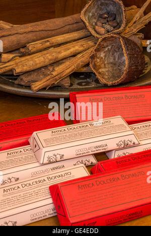 Italy Sicily Modica - Dolceria Bonajuto  - wrapped tablets - Stock Photo