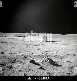 (February 6, 1971) Astronaut Edgar D. Mitchell, lunar module pilot, photographed this sweeping view showing fellow - Stock Photo