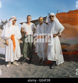 (August 14, 1967) Three astronauts participating in Apollo desert survival training in Washington state pose with - Stock Photo