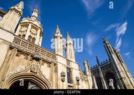 CAMBRIDGE, UK - JULY 18TH 2016: A view of the magnificent Gate House and Chapel of Kings College in Cambridge, on - Stock Photo