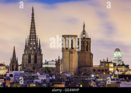 Cathedral and Agbar building, Cityscape, Barcelona, Catalonia, Spain. - Stock Photo
