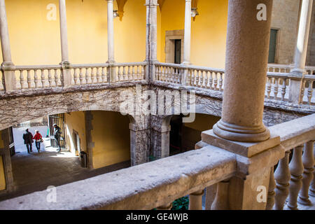 Lloctinent palace, courtyard, Aragón Crown Archive, Gothic Quarter, Barcelona, Catalonia, Spain, Europe. - Stock Photo