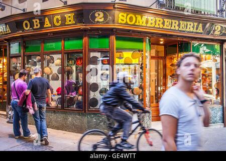 Sombrerería Obach, carrer del Call 2, Barcelona, Spain - Stock Photo
