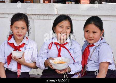 Schoolchildren Luang Prabang Laos - Stock Photo