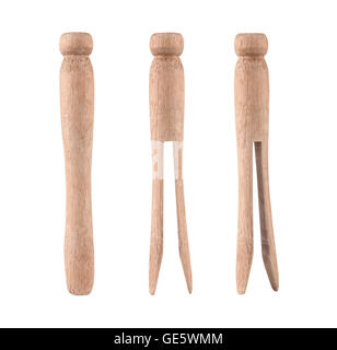 vintage wooden clothes pins isolated on a white background - Stock Photo