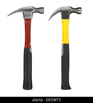 yellow and red hammer on white background - Stock Photo