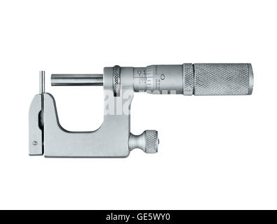 A toolmakers Micrometer isolated on a white background - Stock Photo