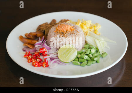 Rice Mixed with Shrimp paste on the dish – famous thai street food - Stock Photo