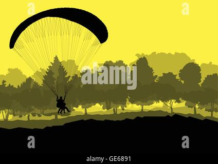 Paragliding vector background landscape concept vector for poster - Stock Photo