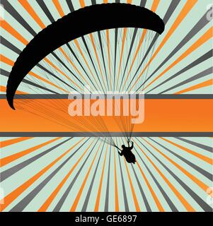 Paragliding vector background landscape concept vector with burst - Stock Photo