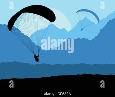 Paragliding vector background landscape concept vector with mountains - Stock Photo
