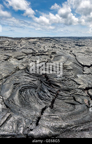 Amazing formation of magma on lava field in Hawaii Volcanoes National Park - Stock Photo