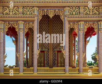 Thai Temple Entrance Golden Decoration - Stock Photo