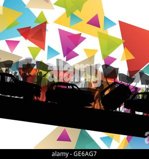 People silhouettes of cheering or protesting man and women with banners and signs in abstract vector background - Stock Photo
