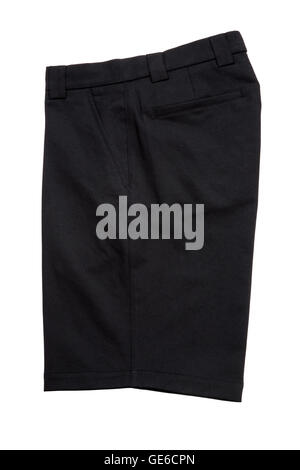 Black short pants trousers  for men isolated on white background - Stock Photo