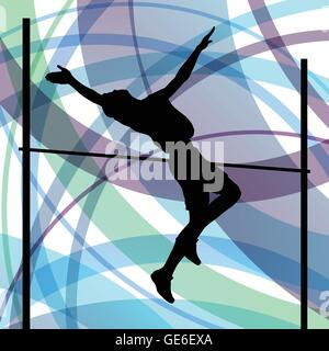 Man high jumping abstract vector background concept, track and field for poster - Stock Photo