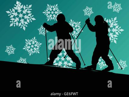 Active children skiing sport silhouettes in winter ice and snowflake abstract background illustration vector - Stock Photo