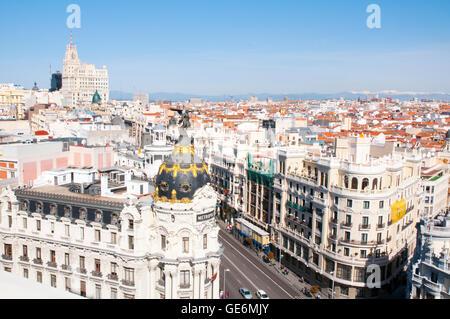 Gran Via street from the terrace of Circulo de Bellas Artes. Madrid, Spain. - Stock Photo