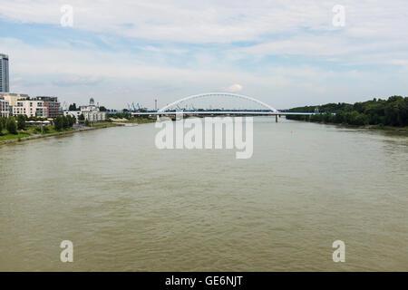 Apollo Bridge, Bratislava, Slovakia and Danube river in summer day - Stock Photo