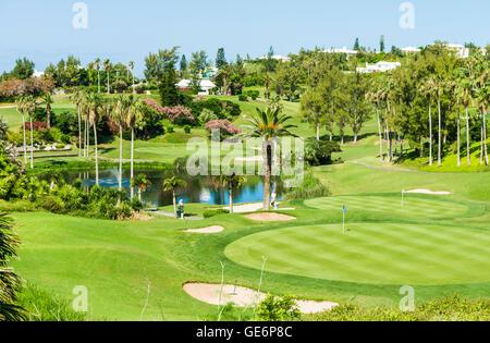 Turtle Hill Golf Club course at the Fairmont Southampton luxury resort at Southampton, Bermuda - Stock Photo
