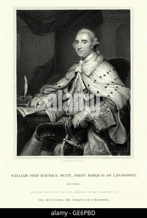 Portrait of William Petty, 2nd Earl of Shelburne an Irish-born British Whig statesman who was the first Home Secretary - Stock Photo