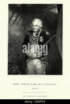 Portrait of Admiral John Jervis, 1st Earl of St Vincent. Jervis served throughout the latter half of the 18th century - Stock Photo