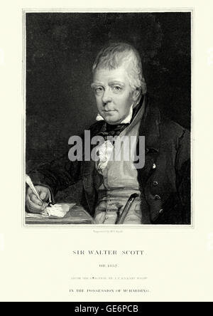 Portrait of Sir Walter Scott a Scottish historical novelist, playwright and poet - Stock Photo