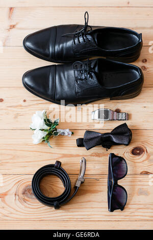 Set groom Butterfly shoes Belts Cufflinks Watches Men's Accessories. - Stock Photo