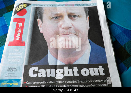 Front page of the i newspaper  'Caught Out' as David Cameron quits after Brexit vote shock London UK 25th 25 June - Stock Photo