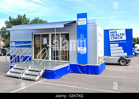 Anglian Community Enterprise (Ace) mobile NHS health check unit parked up in a shoppers car park in Brentwood Essex - Stock Photo