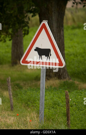 A cattle crossing sign near Athee-sur-Cher, France, 25 June 2008. - Stock Photo