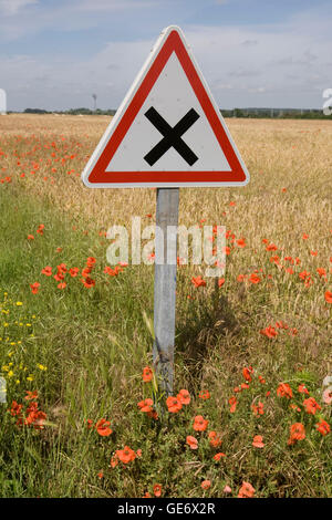 View of road sign near Amboise, France, 26 June 2008. - Stock Photo