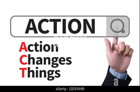 Action Changes Things (ACT) man pushing (touching) virtual web browser address bar or search bar - Stock Photo