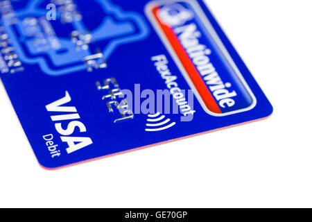 Visa paywave debit card using contactless technology for payment, UK - Stock Photo