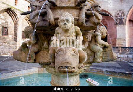 Detail of Fountain in Plaza de Santa María.In front of cathedral. Burgos. Spain. Camino de Santiago - Stock Photo