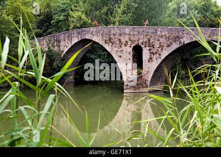 Bridge of `La Magdalena´ (romanesque bridge). Pamplona. Navarra.Spain. Camino de Santiago - Stock Photo