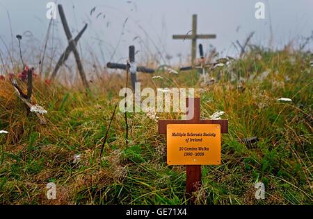 Crosses left by the pilgrims. `Puerto de Ibañeta´,near Roncesvalles. Navarra.Spain. Camino de Santiago - Stock Photo