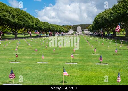 Punchbowl National Memorial Cemetery of the Pacific - Stock Photo
