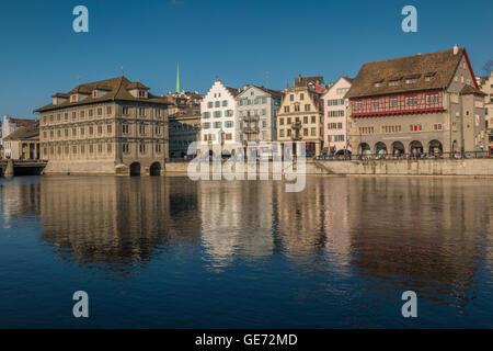 Riverfront of Zurich in Switzerland - Stock Photo